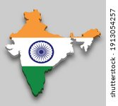 3d isometric map of india with... | Shutterstock .eps vector #1913054257