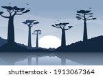 baobab tree with oasis savanna... | Shutterstock .eps vector #1913067364