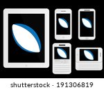 mobile devices with rugby ball... | Shutterstock .eps vector #191306819