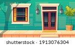 house facade with wooden porch... | Shutterstock .eps vector #1913076304