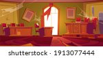 old courtroom interior with...   Shutterstock .eps vector #1913077444