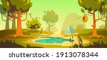 cartoon forest background with...