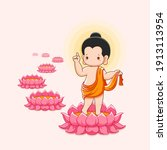 lord buddha's born and walking...   Shutterstock .eps vector #1913113954