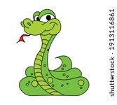 green snake crawling on white... | Shutterstock .eps vector #1913116861