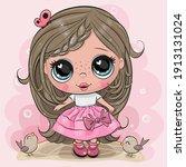 cute cartoon girl with...   Shutterstock .eps vector #1913131024