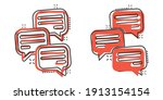 speak chat sign icon in comic... | Shutterstock .eps vector #1913154154