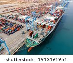 Container Ship Being Loaded And ...