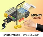 money online on mobile phone ... | Shutterstock .eps vector #1913169334