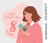 woman holding a bouquet of... | Shutterstock .eps vector #1913209177
