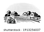 farm with trees and tractor... | Shutterstock .eps vector #1913256037