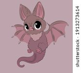 cute the bat stands with wings...   Shutterstock .eps vector #1913273614