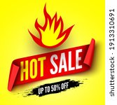 hot sale banner with fire and... | Shutterstock .eps vector #1913310691