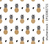 seamless pattern with pineapple ... | Shutterstock .eps vector #1913382721