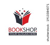 book store emblem with open... | Shutterstock .eps vector #1913384071