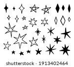 vector set of different stars... | Shutterstock .eps vector #1913402464