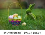 Easter Basket With Colored Eggs ...
