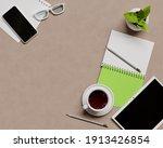 overhead shot of office desktop.... | Shutterstock . vector #1913426854
