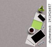 overhead shot of office desktop.... | Shutterstock . vector #1913426857