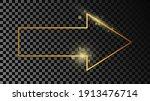 gold glowing arrow shape frame...   Shutterstock .eps vector #1913476714