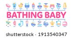 bathing baby tool minimal... | Shutterstock .eps vector #1913540347