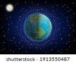 space debris in orbit around... | Shutterstock .eps vector #1913550487