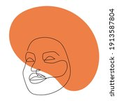 continuous line abstract face.... | Shutterstock .eps vector #1913587804