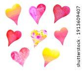 Watercolor Set Of Heart Pink ...
