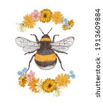 hand drawn colorful bumblebee... | Shutterstock .eps vector #1913609884