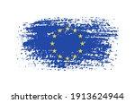 flag of europen union in grunge ... | Shutterstock .eps vector #1913624944