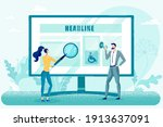 man and woman using marketing... | Shutterstock .eps vector #1913637091