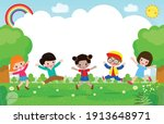 cute kids playing at abstract... | Shutterstock .eps vector #1913648971