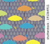 seamless pattern with umbrellas ... | Shutterstock .eps vector #191364911