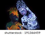 body art glowing in ultraviolet