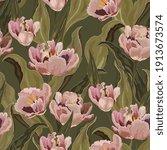 tulip seamless vector pattern.... | Shutterstock .eps vector #1913673574