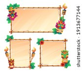 bamboo frames with tiki masks ... | Shutterstock .eps vector #1913677144