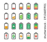 battery icon set vector and...