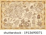 old treasure map of pirate... | Shutterstock .eps vector #1913690071