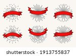 red ribbon with black contour... | Shutterstock .eps vector #1913755837