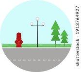 roadside view  illustration ... | Shutterstock .eps vector #1913764927