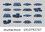 set of blue podiums. realistic... | Shutterstock .eps vector #1913792737