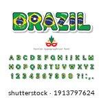 brazil cartoon font. brazilian... | Shutterstock .eps vector #1913797624
