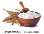 Flour With Wheat In A Wooden...
