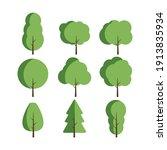 set of flat stylized trees.... | Shutterstock .eps vector #1913835934