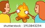 cute cartoon boy and girl...   Shutterstock .eps vector #1913843254