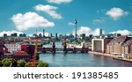 Stock photo berlin skyline aerial view with river spree and oberbaumbruecke oberbaum bridge 191385485