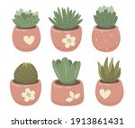 indoor flowers  succulents.... | Shutterstock .eps vector #1913861431