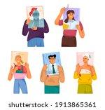readers read non fiction books. ...   Shutterstock .eps vector #1913865361