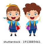 happy cute beautiful smart... | Shutterstock .eps vector #1913885461