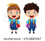 happy cute beautiful smart... | Shutterstock .eps vector #1913885467