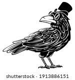 Vintage Black Raven Wearing Top ...